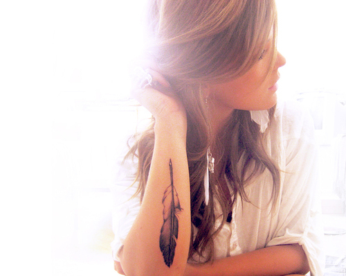 feather, girl, hair, light, tattoo
