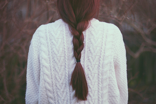fish tail, hair, red, sweater, vintage