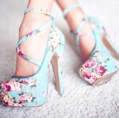 floral, girl, high heels, sexy, shoes