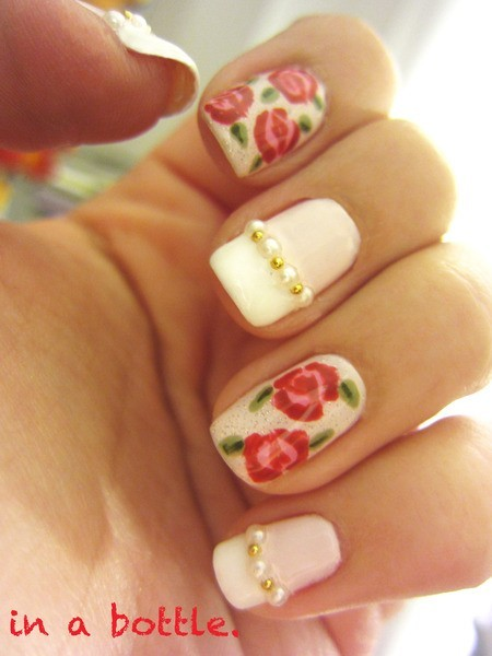 flower, nail art, nails, pearls, vintage