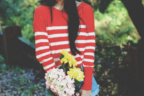 flowers, forest, girl, light, photography, pretty, pullover, vintage