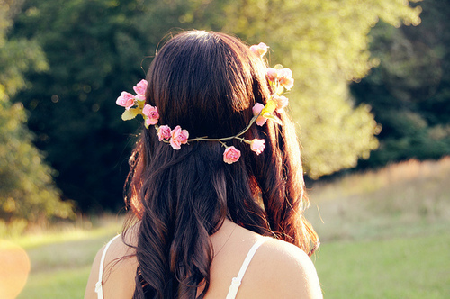 flowers, friends, girl, hair, nature