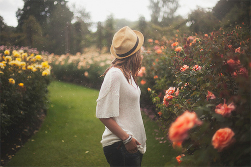 flowers, girl, graden, hair, hat