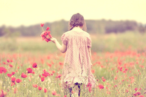 flowers, girl, little, tulip