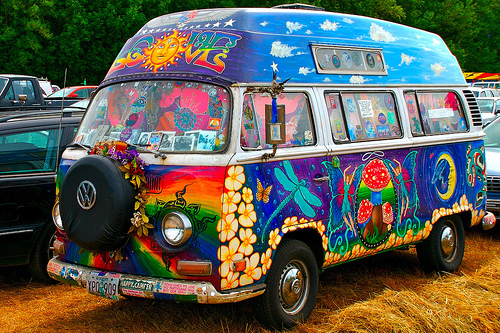 flowers, hippy, love, peace, vw van