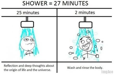 funny, shower, true, water