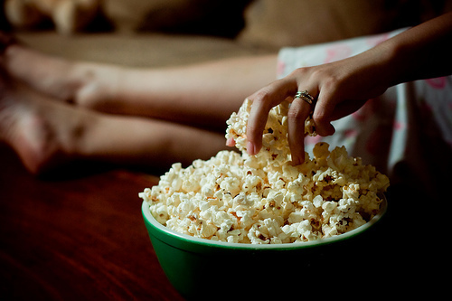 girl, green, photo, pop corn