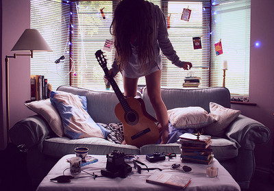 girl, guitar, hair