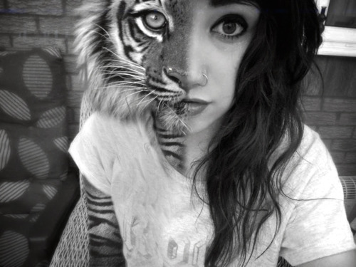 girl, hair, perfect, piercing, tiger