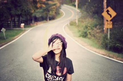 girl, happy, road