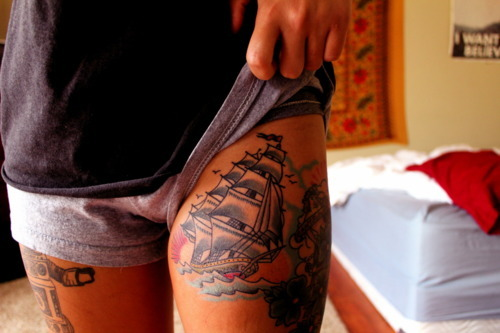girl, hot, legs, ships, tattoos