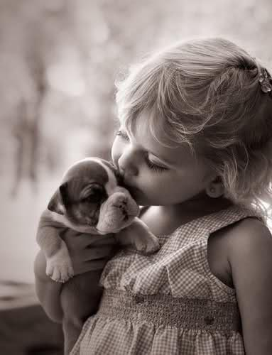 girl, kiss, puppy