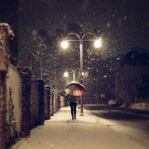 girl, night, photography, snow, winter