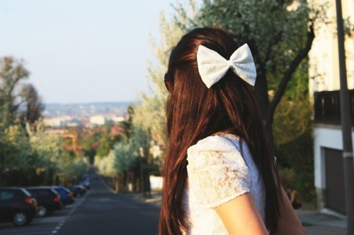 girl, ribbon, white