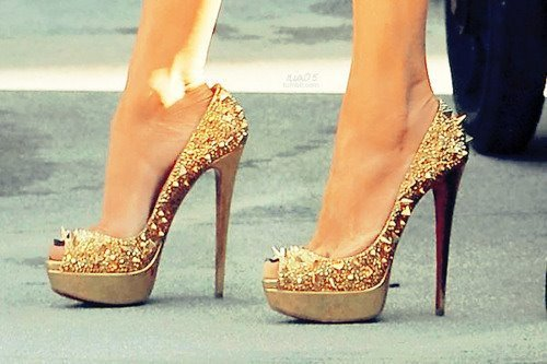 glamour, golden, heels, pumps, shoes