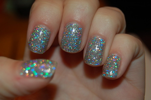 glitter, hologram, nails, sparkles