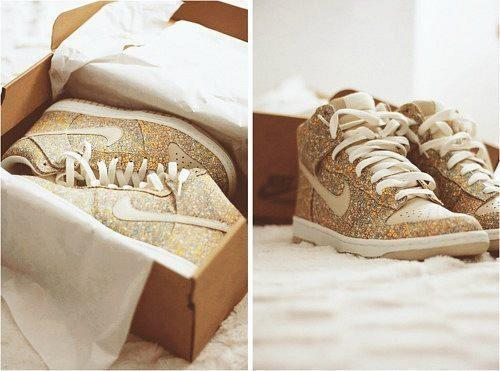 glitter, nike, shoes, yellow