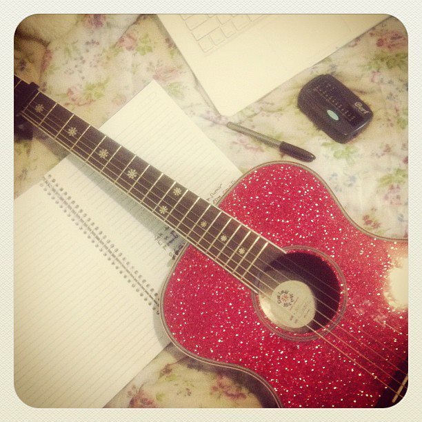 guitar, music, notebook, pen, photography
