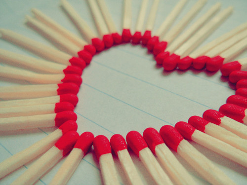 heart, love, matchstick