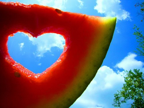 heart, melon, summer