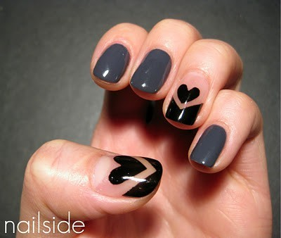 heart, nail art, nails