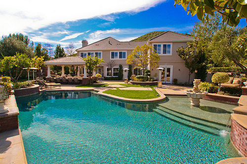 home, house, mansion, pool