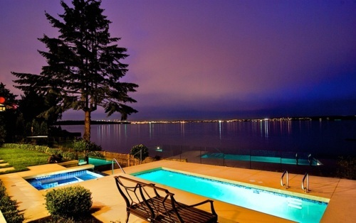house, lights, luxury, night, pool, sea