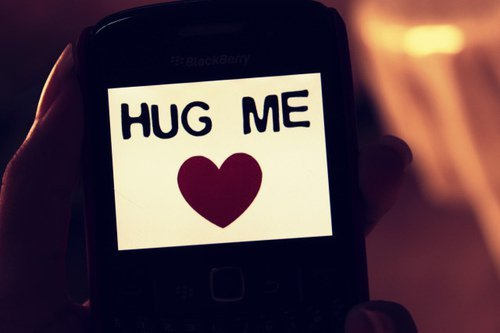 hug, love, phone