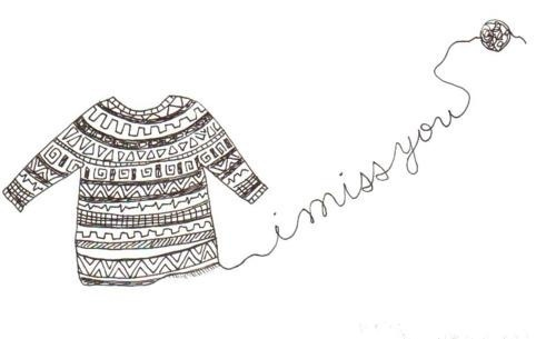 i miss you, illustration, love, miss you, sweater, wool