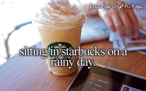 #justgirlythings, frappuccino, just girly things, rainy day, starbucks