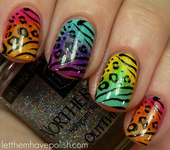 leopard, nails, rainbow