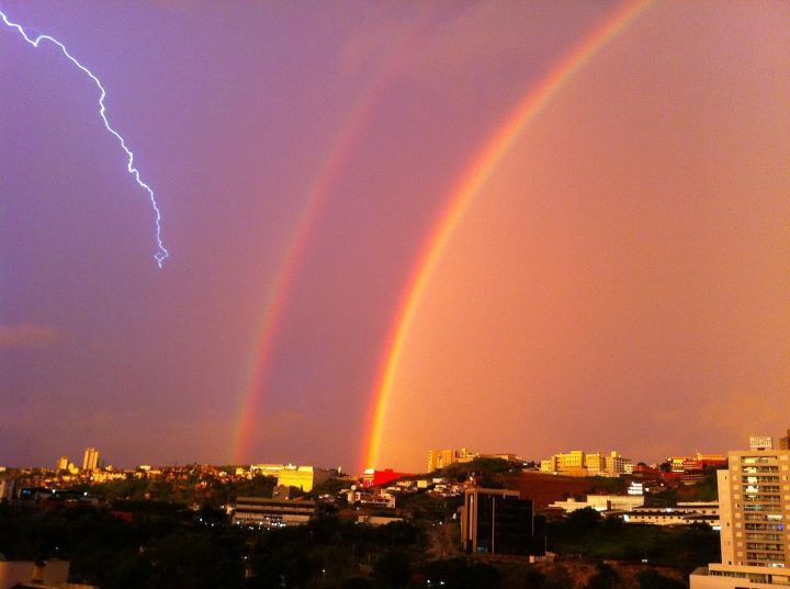 lightning, photography, rainbow, sky
